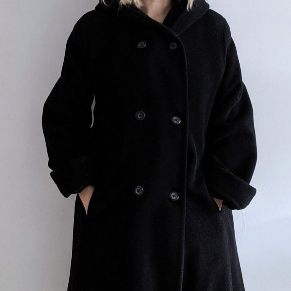 1990's Cashmere-Wool Blend Coat with Hood